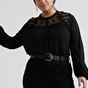 NWT Lucky Brand black embroidered top 2X